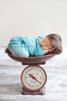 Through Grins & Giggles: Baby scale. Newborn baby photo on a antique scale