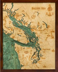 A topographical map of the Salish Sea. Tons more maps available from Below The Boat! Read up at www.ofironandoak.com!