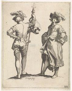 Hendrik Winter   Twee soldaten, Hendrik Winter, Frederick Bloemaert, Abraham Bloemaert, 1630 - 1677   Twee soldaten. Links een piekenier op de rug gezien. Rechts een soldaat met een hoed met pluim op het hoofd. Rechtsonder genummerd: XX.