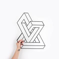 Metal Wall Art Penrose Home Decor Interior Sign Wall Steel Minimalistic Office Idea Gift Living Room Metal Wall Grid, Metal Walls, Black Metal, Cool Optical Illusions, Geometric Wall Art, Metal Projects, Decorative Panels, Metal Signs, Wall Signs