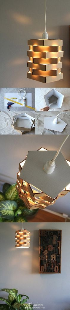 diy, diy home, diy home decorating on a budget, diy lamp. I'd at least paint the cardboard. Diy Luminaire, Diy Lampe, Cardboard Crafts, Paper Crafts, Cardboard Chair, Diy Luz, Diys, Creation Deco, Ideias Diy