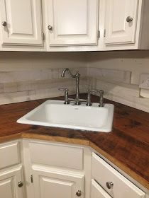 DIY reclaimed wood kitchen countertops, farmhouse kitchen, fixer upper style, old house Kitchen Sink Countertop, Diy Butcher Block Countertops, Butcher Block Kitchen, Diy Kitchen Cabinets, Rustic Country Kitchens, Farmhouse Style Kitchen, Reclaimed Wood Kitchen, Kitchen Wood, Salvaged Wood