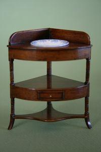 Corner Washstand With Bowl By Stokesay Ware | Georgian Regency | Tarbena Miniatures
