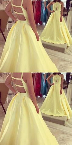 Yellow Long Prom Dress, 2018 Prom Dress, Ball Gown