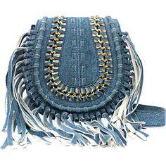 Aimee Kestenberg Handbags Genny Crossbody - Denim Leather - Crossbody... (1.890.225 IDR) ❤ liked on Polyvore featuring bags, handbags, shoulder bags, blue, blue leather purse, leather fringe purse, leather handbags, leather crossbody purse and leather purses