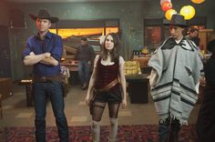 Joel McHale as Jeff, Alison Brie as Annie and Danny Pudi as Abed on Community fr...