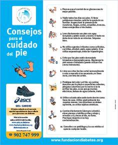 Consejos para el cuidado del pie cuando se tiene diabetes. Campaña educativa sobre los cuidados del pie.