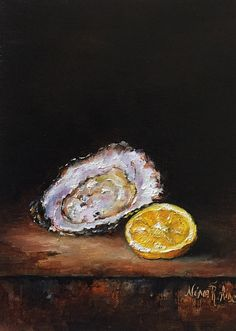 Oyster And Lemon Slice Original Oil Painting by by Nina R.Aide Studio #oyster#lemon#slice#still life#small paitning#chiaroscuro