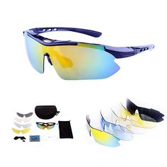 0d44be93a20 Polarized Sport Sunglasses With 5 Interchangeable Lenses Cycling Glasses