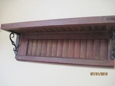 red old Vintage Shutter Shelf Repurposed Home Decor Rustic Shabby Chic. $42.00, via Etsy.