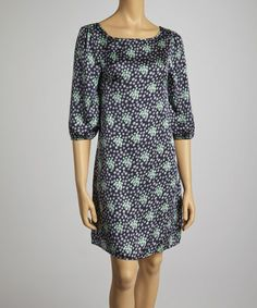 Navy & Mint Dot Scoop Neck Dress by Clothing Showroom