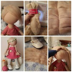 Doll Wigs, Doll Hair, Doll Crafts, Diy Doll, Doll Dress Patterns, Clothespin Dolls, Sewing Dolls, Waldorf Dolls, Fairy Dolls