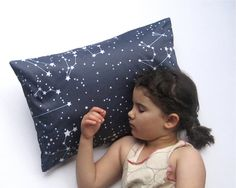 Goodnight Galaxy Pillow Sham Cover - Organic Toddler Pillow Cushion - Baby Home Decor in Dark Night Sky Blue - Eco friendly Bedroom Pillow on Etsy, $48.00