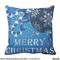 Blaues Weihnachtskissen mit Schrift Zierkissen