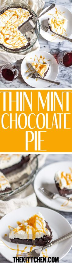 This decadent thin mint chocolate pie has a thin mint cookie crust a rich moist chocolate center topped with freshly whipped cream. When it comes to baking, this is one of the easiest recipes out there, it takes just minutes of active preparation time to make. #pie #dessert #dessertrecipes ***** Dessert recipes | Dessert pies | Dessert pie recipes | Dessert pies easy | Chocolate pie | Chocolate pie recipe | Thin mint pie | Thin mint pie crust