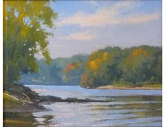 """Original oil painting painted en plein air along the 'ole man. canvas board in wooden frame, overall 16"""" W x 14"""" H Ships within 3 days. by Richard Abraham"""