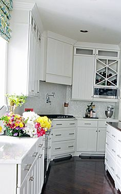 White Kitchen With Wood And Marble Countertop Malvern Pa Mother Of