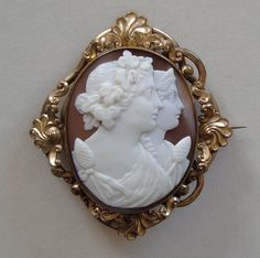 Bacchus and Ariadne Double Portrait Carved Shell Cameo Brooch c 1860 from nectarjewels on Ruby Lane
