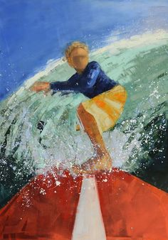 """Surfer (Long Board)"" by Rebecca Kinkead. 70"" X 50"", Oil and Wax on Linen. Available at www.maine-art.com"