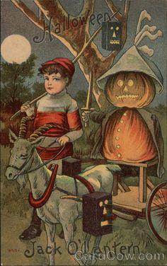 Rare Boy & Goat Cart w/Jack OLantern Halloween