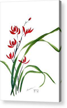 Orchid Imprimer acrylique avec la peinture chinoise Wild Orchid 1 par Alethea McKee