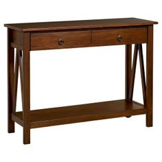 Linon Titian Console Table - Antique Tobacco - Console Tables at Hayneedle