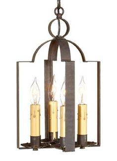 COLONIAL PENDANT 4 CANDLE TIN LIGHT Double Saddle Blackened Tin Ceiling Entry Hall Lamp