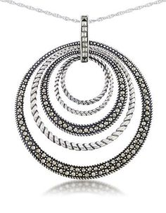 Lord & Taylor Multi Circle Pendant Necklace Women's Silver