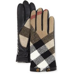 Burberry Check-Print Wool Gloves ($310) ❤ liked on Polyvore featuring accessories, gloves, black, woolen gloves, burberry, black gloves, wool gloves and burberry gloves