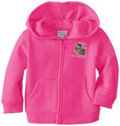 Amazon.com: Carhartt Baby-Girls Infant Brushed Fleece Zip Front Jacket: Clothing