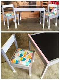 "I've been itching to do something crafty for my toddler, and when I came across the idea for ""hacking"" the IKEA LATT table and chairs s..."