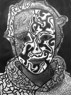 Keith Haring and Australian Aboriginal art designs over a photo