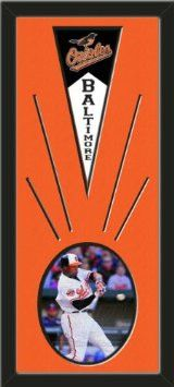 Baltimore Orioles Wool Felt Mini Pennant & Adam Jones Action Photo - Framed With Team Color Double Matting In A Quality Black Frame-Awesome & Beautiful