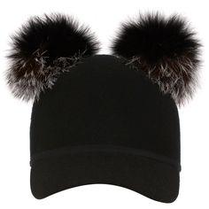 Charlotte Simone     Double Pom Sass Cap ($175) ❤ liked on Polyvore featuring accessories, hats, dark grey, visor hats, sun visor, pompom hat, pom pom cap and visor cap