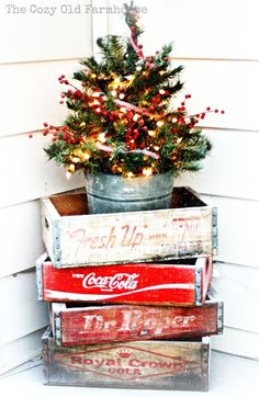 "Vintage Decor - old ""pop"" crates stacked to hold tiny tree - A Farmhouse Christmas - The Cottage Market"