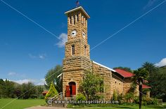 Photos and pictures of: Sandstone church in Clarens, Free State, South Africa - The Africa Image Library Rubber Raincoats, Free State, Cathedral Church, Church Building, Chapelle, Place Of Worship, Cathedrals, Big Ben, Places To See