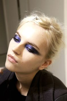 makeupforall1:    Inspirational. It's such a simple look but it is also edgy and sexy. Use a black shadow under the purple to make it stronger. And blend blend blend!