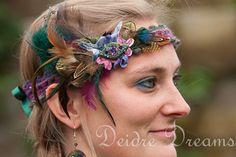 Tribal Fusion Headdress Pagan Fairy Woodland Bridal Flapper Belly Dance Feather Hippie Crochet Gypsy Headband Polymer Clay Flowers Wedding. $70.00, via Etsy.