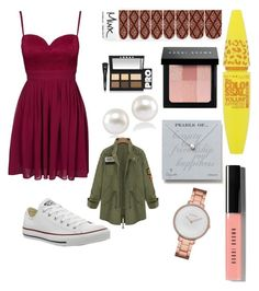"""Untitled #119"" by glo-pinkshot on Polyvore featuring beauty, Elise Ryan, Maybelline, Bobbi Brown Cosmetics, LORAC, Dogeared, Carolee, Skagen and Converse"