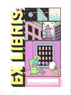 """Ex Libris"" Silkscreen Chris Ware, Ex Libris, Forget, Poster, Design, Art, Art Background, Kunst, Design Comics"
