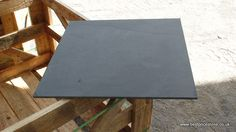 Brazilian Black slate showing the very lightly riven surface.  Size 600x600mm