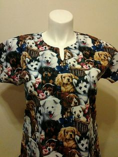 a1c45e991a0 Fast Shipping Dogs scrub top sizes xs to xl made to order 100% Cotton  Y-neck design with two front pockets