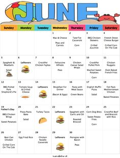 june 2016 menu plan moms bistro You are in the right place about Meal Planning zum ausdrucken Here we offer you the most beautiful pictures about the 1200 calorie Meal Planning you are looking for. Frugal Meals, Cheap Meals, Budget Meals, Freezer Meals, Kids Meals, Family Meals, Inexpensive Meals, Family Budget, Budget Recipes