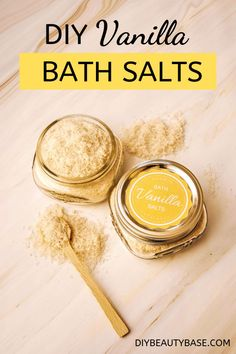 Easy DIY Vanilla Bath Salt Recipe – DIY Beauty Base Make your own bath salts with this easy Vanilla Bath salt recipe. Epsom salts relax the muscles and vanilla scent promotes relaxation and happiness. Bath Recipes, No Salt Recipes, Beauty Base, Diy Beauty, Beauty Ideas, Beauty Tips, Beauty Stuff, Homemade Skin Care, Diy Skin Care