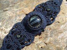Купить Браслет с соколиным глазом - макраме украшения, украшения ручной работы…