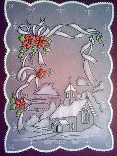 T t snowscene Christmas Card Crafts, Christmas Drawing, Christmas Cards To Make, Vintage Christmas Cards, Christmas Art, Card Patterns, Embroidery Patterns, Vellum Crafts, Parchment Cards