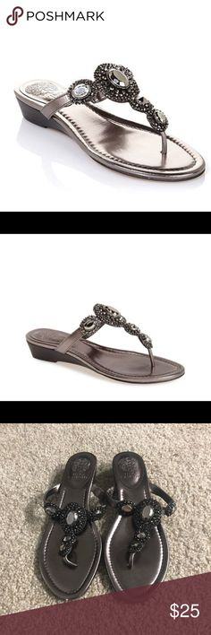 557643d17e3c Ilina Thong Wedge Sandal- Vince Camuto Metallic Grey Vince Camuto Thong  Wedge Sandal in size