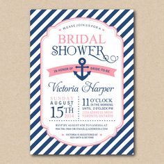 Bridal Shower Invitation, Nautical Invitations, Navy and Coral, Anchor Invitation, Printable