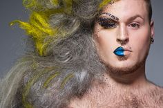 "Leland Bobbe's most recent project ""Half Drag,"" the New York native captures the two identities of the big city's drag queens. Bobbe captures the images in-camera with the queens sporting their alter egos in full hair (and even fuller makeup) on the left side while sporting an au naturel look all on the right."