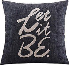 """Create For-Life Cotton Linen Decorative Pillowcase Throw Pillow Cushion Cover Let it Be by the Beatles Square 18"""""""